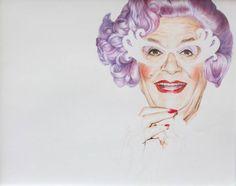 Dame Edna colour pencil portrait