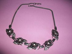 Vintage Silver Tone Rose Flower & Rhinestone by HeartsMaddness, $35.00