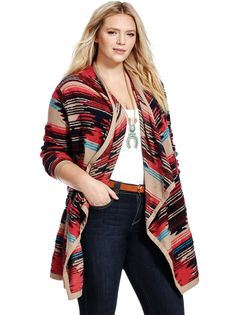 Pattern Cardigan by Lucky Brand  Available in sizes 1X-3X