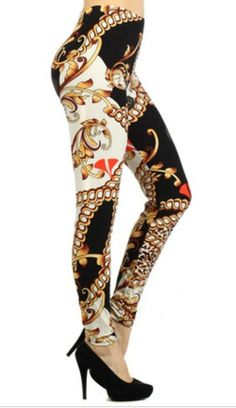 Gold Chain Link Scroll Print Leggings by Cali West Boutique - $14