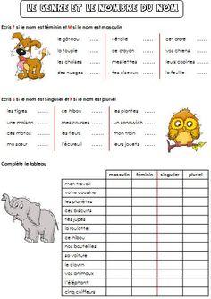 Le genre et le nombre du nom Plurals Worksheets, French Worksheets, Teaching French, Teaching English, French Numbers, Le Genre, French Education, French Grammar, French Classroom