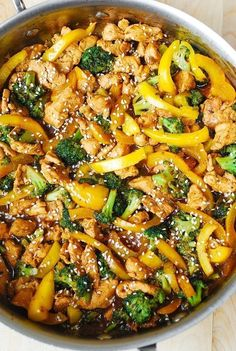 Create a yummy stir-fry dish thats made with chicken, broccoli, yellow bell peppers, and Asian-flavored sauce. This healthy meal is made with lots of protein and fiber. Plus, its low on fat and is quick and easy to make! Try this delicious and nutritiou