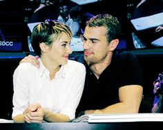 Theo James and Shailene Woodley. I love they way they are looking at each other.