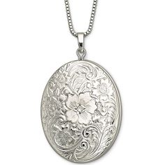 Sterling Silver Floral Frame Locket ($77) ❤ liked on Polyvore featuring jewelry, necklaces, locket pendant, vintage style pendants, womens jewellery, sterling silver jewellery and locket jewelry