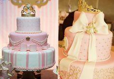 50 ideias incríveis para fazer uma festa de princesa! Birthday Cake, Baby Shower, Party, Bolo Fake, Royal Party, Nappy Cake, Princesses, One Year Birthday, Sweet Treats