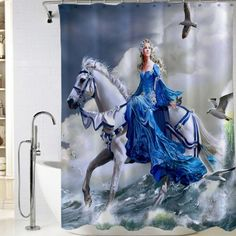 Angel on flying horse Shower Curtain