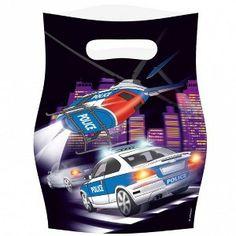 Een pakje met 8 partybags bedrukt met een politieauto en een helikopter. kinderfeestje politie