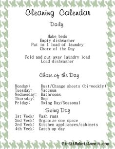 Cleaning calendar-perfect way to simplify and organize cleaning!
