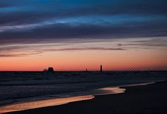 'Grand Haven Michigan Sunset' Fine Art Photography by Evie Carrier As so often in photography, I turned around for one last shot of the Sunset at Grand Haven and this is the image I found.