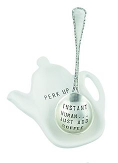 "Mud Pie Instant Coffee Spoon Rest, White: Vintage stamped message spoon from Mud Pie comes ready-to-give on a card with figural ceramic coffee pot shaped ""PERK UP"" spoon rest. Decaf Coffee, Coffee Spoon, Coffee Time, Mud Pie Dishes, Coffee Holder, Diy Monogram, Spoon Jewelry, Instant Coffee, Metal Stamping"