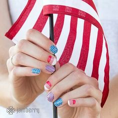 "These are called ""Patriot"" and are too cute to pass up. Get them just in time for the 4th of July and celebrate Independence Day in style. Our wraps are always Buy 3 Get 1 Free. Get your Jamberry nail wraps at shanarobinson.jamberrynails.net"
