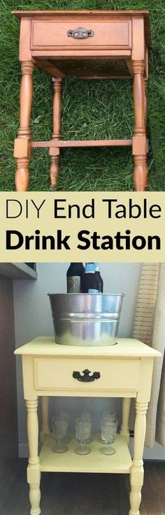 DIY Drink Station from an End Table