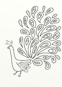 Peacock digital stamp