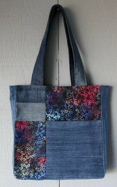 Multi-Colored Art Inspired Denim and Fabric Patch with Front Pocket Tote and Lined with Same Multi-Colored Polyester Canvas Fabric by AllintheJeans on Etsy Denim Tote Bags, Denim Purse, Patchwork Bags, Quilted Bag, Bag Quilt, Fabric Bags, Canvas Fabric, Denim Crafts, Handmade Purses