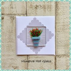 Fused Glass Greeting Card, Handmade, Red Flower, Floral Gifts, Hand crafted by Minerva Hot Glass Glass Wall Art, Fused Glass Art, Orange Flowers, Tea Light Holder, Greeting Cards Handmade, Glass Ornaments, Tea Lights, Handmade Gifts, Floral