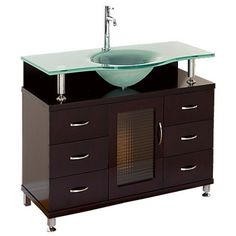 """Accara 36"""" Bathroom Vanity with Drawers - Espresso w/ Clear or Frosted Glass Counter"""