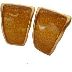 Anne Klein Gold Tone Enamel Sparkle Clip Earrings. found at www.rubylane.com #vintagebeginshere Vintage Jewellery, Vintage Costume Jewelry, Vintage Costumes, Anne Klein, Clip Earrings, Enamel, Sparkle, Gold, Jewels