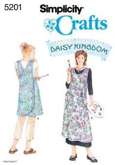 Woman's crossover back pinafore apron - Simplicity pattern #5201. scale down for buttonless child's pinafore dress