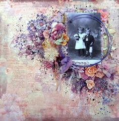 Scraps Of Elegance scrapbook kits: mixed media vintage layout created w/our March kit, by Anna Rogalska