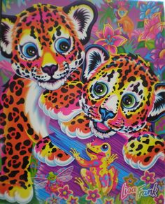 Lisa Frank cheetahs. I LOVED Lisa Frank! Almost every school supplies it item I had was from Lisa Frank!