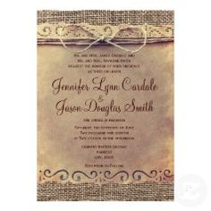 BEST SELLER - Printed design of vintage paper, burlap and twine bow - Rustic Country Wedding Invitations - Country Style Wedding Announcements