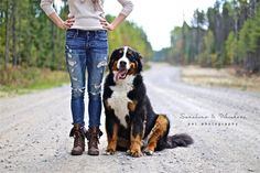 Bernese mountain dog and owner