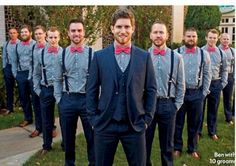 Groomsmen Outfit Ideas Collection groom and groomsmen picture idea love the colors and the Groomsmen Outfit Ideas. Here is Groomsmen Outfit Ideas Collection for you. Groomsmen Outfit Ideas groomsmen outfits 5 ideas besides tuxedos inside wed. Purple Groomsmen, Groomsmen Suspenders, Groomsmen Outfits, Groom And Groomsmen Attire, Bridesmaids And Groomsmen, Wedding Suspenders, Groomsmen Poses, Groom Wear, Fall Wedding Groomsmen