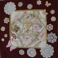 Crazy quilt CQ embroidery beads lace silk ribbon embroidery