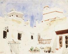 Eugene Delacroix - Interieur de Cour au Maroc, watercolour and pencil on paper