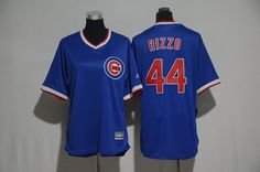 Cubs 44 Anthony Rizzo Blue Cooperstown Women Cool Base Jersey