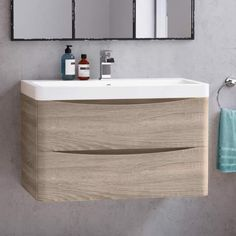 800mm Austin II Light Oak Effect Built In Wall Hung Basin Drawer Unit - soak.com