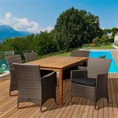 Amazonia 7-Pc Rectangular Dining Set (SC MALRECT_6LIBKD GR) | ShopLadder