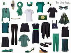 Breaking All the Usual Packing Rules: Navy and Green | The Vivienne Files. Combine this pic with navy/green marinier, navy pants and trench, navy/green patterned pashmina, green smoking slippers, watch, green studs, navy and green tote.