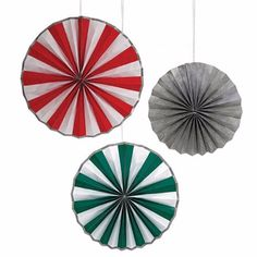 Giant Christmas Pinwheel Decorations: A pack of thee large Christmas pinwheel decorations in three different sizes.  There are three different sizes, one in sparkly silver, one red and green design and the largest comes in red and white. They come with string to hang them from the ceiling or walls.