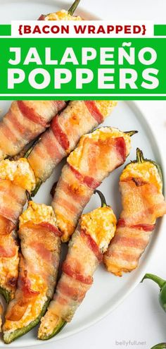 These Bacon Wrapped Jalapeno Poppers are the perfect crowd-pleasing appetizer! Creamy, crispy, spicy, loaded with cheese, and wrapped in bacon! #jalapenopoppers #baconwrappedjalapenos Bacon Recipes, Real Food Recipes, Yummy Food, Delicious Recipes, Easy Recipes, Dinner Recipes, Bacon Wrapped Jalapeno Poppers, Stuffed Jalapenos With Bacon, Nutritious Snacks