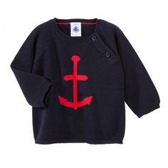 LOVE it ! Petit Bateau jumper http://www.littlefashiongallery.com/fr/soldes/promotions/bebes/petit-bateau-enfant-garcon-pull-e13-bleu-ancre/