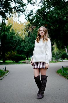 Pink Wish: HIGH SCHOOL MEMORIES tartan skirt, over the knee boots, white, autumn outfit, oversized cardigan