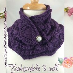 #cpromo Royal Purple Cowl Hand knit with Pearl button front Lace Neckwarmer