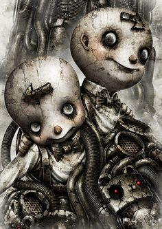 The Art of Shingo Matsunuma - Daily Art Arte Horror, Horror Art, Dark Fantasy Art, Dark Art, Arte Tim Burton, Gemini Art, Arte Steampunk, Arte Alien, Fete Halloween