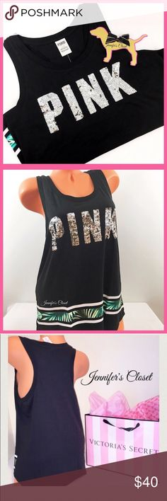 •Victoria's Secret PINK• Bling tropical tank V I C T O R I A 'S ✦ S E C R E T  PINK  ❈ Condition: New with tags  ❈ Reasonable Offers Always Welcome!  ❈ Fast shipping Monday⇢Friday  Same/Next day after your purchase  ❈ Questions? Please comment below,  I will be more than happy to assist you ☻  ❈ Bundles are always encouraged to save on shipping!   ❈Thank you for stopping by! Hope to have you as a customer or returning customer   xo ღ Jennifer PINK Victoria's Secret Tops Muscle Tees