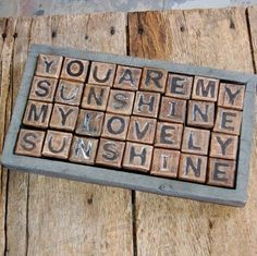 Leave a sweet note with one of 6 messages you can create with these rustic wooden blocks! Sugarboo You are My Sunshine Blocks – Adjectives Market My Little Kids, Françoise Sagan, Painted Fox Home, Sugarboo Designs, Decorating Coffee Tables, Songs To Sing, You Are My Sunshine, Sunshine Sunshine, My Guy