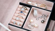 gemstone rings: Jewelry box with white gold and silver rings, earrings and pendants with pearls. Collection of luxury jewelry Moon Jewelry, Jewelry Box, Silver Jewelry, Fine Jewelry, Jewlery, Jewelry Storage, Jewelry Gifts, Fashion Basics, Bijoux Design