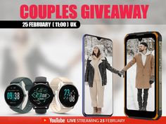 Mega Sorteio de Dois Smartphones e Seis Smartwatches Free Sweepstakes, Youtube Live, Amazon Gifts, Smart Watch, Giveaway, Smartphones, February, Pairs, London