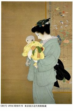 母子 Mother and Child by Shouen Uemura. Japanese art.