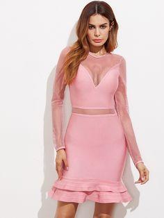 Pink Long Sleeve Fishnet Insert Ruffle Hem Bodycon Dress