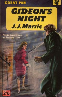 "Gideon's Night by J.J. Marric. Vintage Pan paperback. Cover artwork by Sam Peffer (""Peff"")."