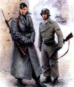 Art illustration - World War II Ww2 Uniforms, German Uniforms, German Soldiers Ww2, German Army, Military Art, Military History, Luftwaffe, Military Drawings, Germany Ww2