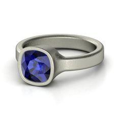 Cushion Sapphire 14K White Gold Ring | Vahagan Ring | Gemvara