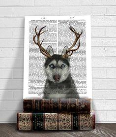 Husky Print Siberian Husky and Antlers husky wall art by FabFunky