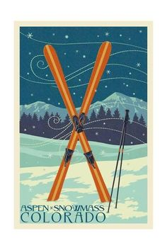 Aspen - Snowmass, Colorado - Crossed Skis Art by Lantern Press at AllPosters.com